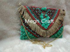 Fashionable Boho Fringe Clutch Purse - Hadmade Pom Pom Clutch Purse - Multicolored Women's Bag - Designer Indian Wallet Purse For Women Pom Pom Clutch, Handmade Purses, Handmade Clutch, Wedding Clutch, Fringe Purse, Beaded Clutch, Bead Crochet, Clutch Purse, Boho