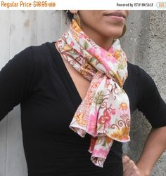 SALE Flowers print scarf colorful scarf by BestOffersBoutique