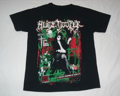 Black Alice Cooper Horror T-Shirt Rock T Shirts, Band Shirts, Heavy Metal Rock, Got The Look, Band Merch, Graphic Tee Shirts, Alice Cooper, Red Green, My Style