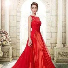 vestido de festa vermelho plissado. com renda. ever-pretty!!