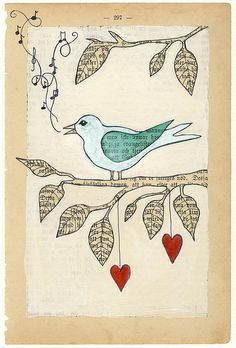 love song bird illustration painted on a. - love song bird illustration painted on a vintage book page - Journal D'art, Art Journal Pages, Art Journaling, Art Altéré, Love Birds Painting, Painting Art, Paintings, Art Du Collage, Newspaper Art