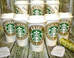 Bridesmaid Gift Starbucks Coffee Cup by CleverHollyDesigns on Etsy