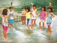Billedresultat for jump rope art paintings Village Scene Drawing, Art Village, Painting For Kids, Drawing For Kids, Diwali Drawing, Rope Art, Figure Sketching, Indian Art Paintings, Happy Diwali