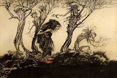 Arthur Rackham: Original illustration from Little Brother and Little Sister 'The Old Witch in the Wood'. Originally a black and white illustration, later coloured for exhibition sale. Walter Crane, Arthur Rackham, Gustave Dore, Hans Christian, Watercolor Illustration, Graphic Illustration, Charles Perrault, Vintage Fairies, Horror Art