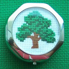 Pillbox with Crossstitch Design Tree by TheStitchedPirate on Etsy, $8.00