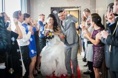 A great idea to combine your grand entrance and your send off for a memorable welcome to your reception. Sarah Hill Photography. Weddings at Curtis Ballroom at The Landmark, Greenwood Village, Colorado.