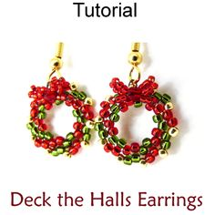 Holiday Christmas Wreath Bow Beaded Earrings Beading Tutorial Pattern Instructions Directions