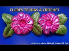 Flor tejida a crochet # 2, para adorno de ponchos, gorros y bolsos. - YouTube