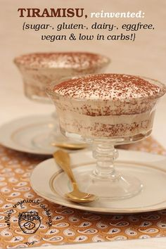 whole website with DAIRY FREE recipes: Gluten-free vegan tiramisu that is low in carbs and doesn't taste like coconut Gluten Free Sweets, Dairy Free Recipes, Vegan Gluten Free, Vegan Recipes, Vegan Vegetarian, Paleo Dessert, Dessert Recipes, Cookie Recipes, Pumpkin Dessert