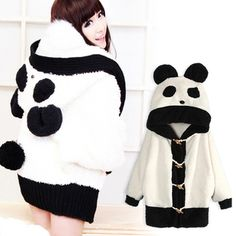 2013 women christmas sweater giant panda lovely hoodies outerwear loose thick sweater plush fleece blouse , free shipping-in Hoodies & Sweatshirts from Apparel & Accessories on Aliexpress.com