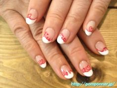 French nails painted red line heart and messages    #名古屋 #ネイル