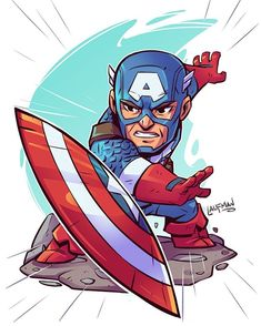 Finished my Chibi Cap! Run and grab a print along with Ironman at dereklaufman.com (link in my profile) also be sure to pre order my first artbook while you are at it! #civilwar #captainamericacivilwar #captainamerica #marvel #digital #drawing #print #ironman #teamcap #teamironman #dereklaufman