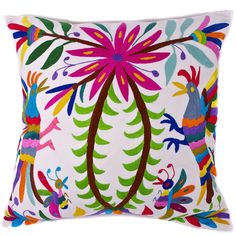 Multi-Colored Hand Embroidered Otomi Pillow with Insert