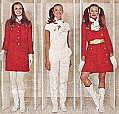 three fashion models in mod clothing designs