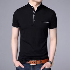 COODRONY Mandarin Collar Short Sleeve Men's T-Shirt - Black