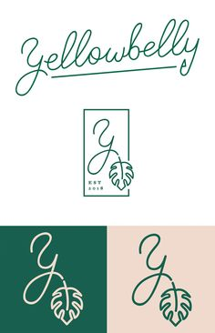 Yellowbelly restaurant identity, designed by Atomicdust, St Louis ----- beautiful logo design for tropical restaurant yellow belly. love how the leaf extends outside the box, and the little details like the triangle on end of y in full logo, the exaggerated swirls of the primary 'y' as well.