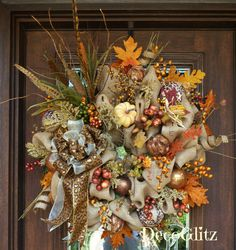 Burlap Fall Wreath with LEOPARD BOW and FEATHERS by decoglitz
