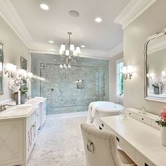 What's to love? 1. spacing 2. vanity table 3. double sink 4. tub 5. window 6. glass and size of shower