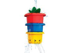 Stapelen en gieten  Een torentje van emmers vol plezier! Ideaal voor in bad of in het zwembad. Deze toren bevat een waterrad, vergrootglas, verschillende gaten waar het water doorheen kan stromen en je kan grappige gezichtjes maken door de emmertjes in elkaar te schuiven! Het waterrad zit veilig gevestigd aan de hoeken van de grootste emmer. Stimuleert behendigheid en hand oog coördinatie.