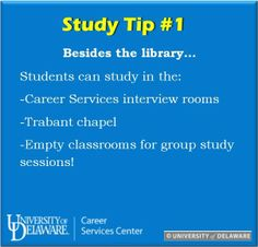 Final Exam Study Tip #1: Does the library seem packed today? Did someone take your favorite spot? Study at these various places on campus for an overall great study session! #UDreamItDoIt