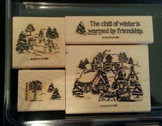 Stampin Up CHILL OF WINTER Rubber Stamp CHRISTMAS Village Skate Trees Snow Cabin #StampinUp #ChristmasVillageCabinSnowTreesSkatersSleigh
