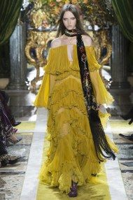 MFW Fall 16 RTW | Roberto Cavalli's boho - art nouveau - 70's glam rock | Yellow off the shoulder tier gown | The Luxe Lookbook