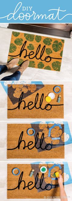 Give your guests a tropical and trendy welcome with this easy DIY doormat! 1) Position and tape stencil in place. 2) Sponge paint onto mat. Let dry and repeat. 3) Repeat around the remainder of the mat. Tropical Doormats, Diy Projects Videos, Home Projects, Craft Projects, Cute Crafts, Diy Crafts, Hobby Lobby Crafts, Stencil Diy, Stencils