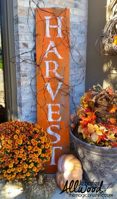This HARVEST sign is such a quick, easy burst of fall color for your front steps! Partner it with some mums and pumpkins and.... boom. Fall front porch done.