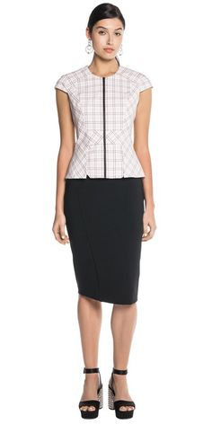 CUE - Layered Peplum Check Top. C30672. RRP $74.70 on sale.