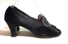 Black Silk Evening Slippers w/ Cut Steel Beading circa 1920s - Dorothea's Closet Vintage