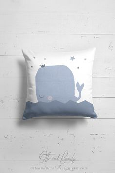 Whale pillow for kids by Otto and Pixels Design on Etsy.
