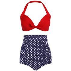 High Waist Retro Bikini Swimsuit Swimwear with Dark Blue Polka Dot... ($11) ❤ liked on Polyvore featuring swimwear, bikinis, red bathing suit, high-waisted bathing suits, retro high waisted bikini, high waisted bikini swimwear and high-waisted bikinis