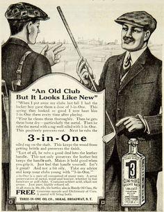 1918 Ad Three-In-One Oil Company Lubrication Golf Club Men Broadway New York. www.GolfSportMag.com
