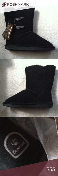 NWT BearPaw ankle boots Size 6 •New with tag/ box •Suede •Fur lined interior •Dual toggle design •Ankle boots •Color: Black •Style: Abigail •Size:6 •Brand: BearPaw •NO TRADES  •FREE GIFT WITH ANY PURCHASE•15% OFF ALL BUNDLES• BearPaw Shoes Ankle Boots & Booties