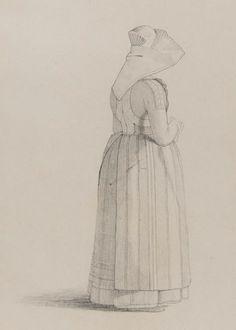 """""""Blyertsteckning av kvinna i Oxiedräkt i helfigur"""" av Otto Wallgren, någon gång mellan 1810-57. Nordiska Museet, nr. NMA.0070134"""