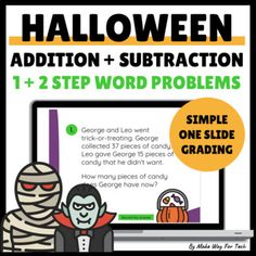 Halloween Addition and Subtraction Word Problems | Halloween Digital Math Math Subtraction, Addition And Subtraction, Classroom Scavenger Hunt, Halloween Math, Parent Teacher Conferences, Adding And Subtracting, Parents As Teachers, Word Problems, Student Work