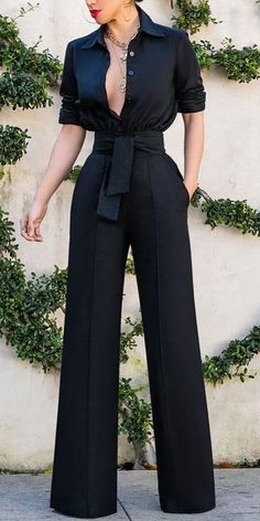 Black Jumpsuit Sexy turndown collar pure colour long sleeve jumpsuit, long sleeves design and short sleeves design Classy Outfits, Chic Outfits, Fashion Outfits, Diva Fashion, Fashion Looks, Womens Fashion, Mode Chic, Black Jumpsuit, Elegant Jumpsuit