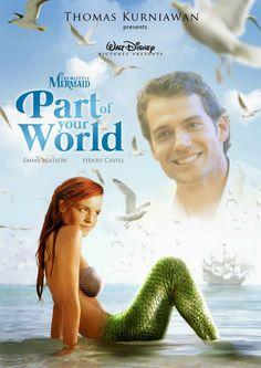 """Disney Princess Celebrities: Emma Watson as Ariel and Henry Cavill as Eric in ""The Little Mermaid"""" - Photo manipulation by Thomas Kurniawan"