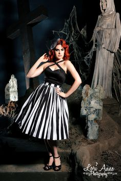 Vintage Goth Pinup Capsule Collection- Jenny Skirt Black and White Stripe Twill Sateen