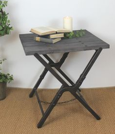 Our new Hampton Wharf side table is a beautiful take on Hampton style living with a 'wharf' style table top adorned with rivets and with metal cross legs.