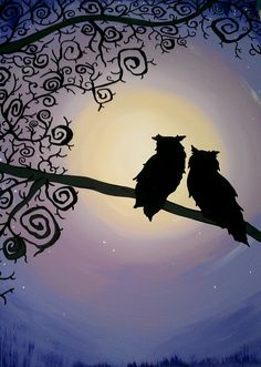 Night Owls acrylic canvas  www.917creations.com