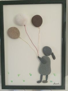 NO STONE UNTURNED  Pebble Art by Fawn -  Happy Day. Balloons!