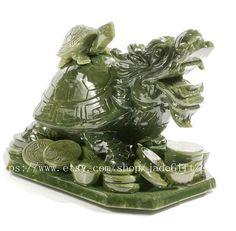 Free shipping   jade dragon Turtle  Natural green  by jadeGift, $399.99