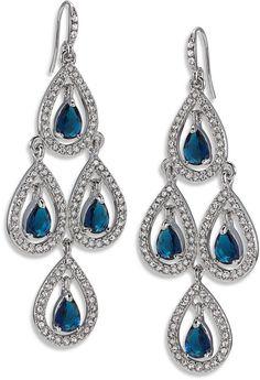 Carolee Earrings, Silver-Tone Pave Pear Chandelier Earrings