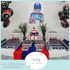 captain america party Captain America Party, Romans 2, 20th Birthday, Superhero Party, Party Themes, Party Ideas, Entertaining, Table Decorations, Baby Showers