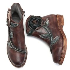 0d0bfa4d3c6f SOCOFY Sooo Comfy Vintage Handmade Rose Ankle Leather Boots is hot-sale.  Come to NewChic to buy womens boots online.