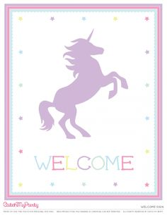 Free Unicorn Party Printables   Welcome sign | CatchMyParty.com