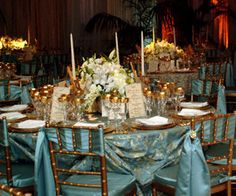 Wedding, Reception, Gold, Bluewhite - interesting