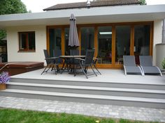 A set of Bifold doors and frame double glazed and coated with Sikkens Light Oak stain we produced for an extension project Patio Steps, Garden Steps, Bifold Doors Onto Patio, Patio Doors, Bi Folding Doors Kitchen, Outside Steps, Door Decks, Garden Design, House Design