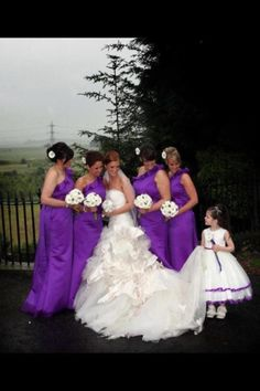 Purple Bridesmaid dresses and Ivory and purple flowergirl dress... Trying to get a feel for the shade of purple you want? A couple hues darker than this, right?